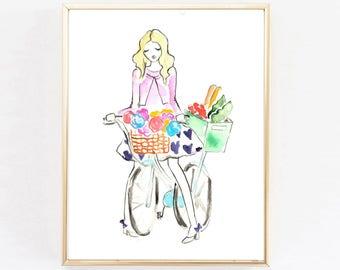 Farmers Market Illustration, Kitchen Print, Kitchen Decor, Art Print, Watercolor Illustration, Bicycle Chic, Brooklyn
