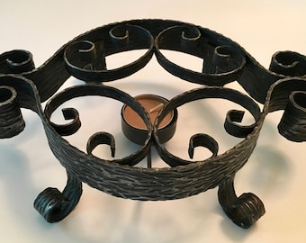 Vintage Retro Mid Century Modern Black Scrolled Metal Trivet Warming Stand with Candle Cup