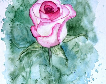 Original watercolor painting Rose