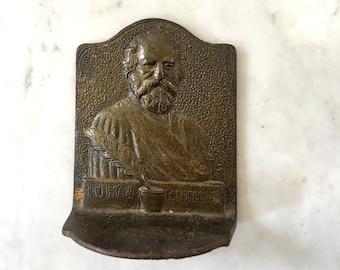 Vintage Bronze Henry W Longfellow serre-livres livre fin