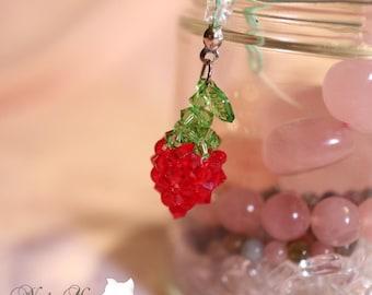 Strawberry Crystal Beaded Keychain / Strawberry Charm