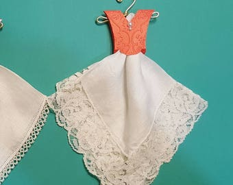 Vintage lace edged Hanky Dress with a embossed coral bodice