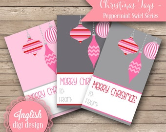 Printable Christmas Tags - Peppermint Swirl - INSTANT DOWNLOAD