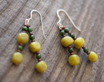 Olive Jade Nugget Earrings