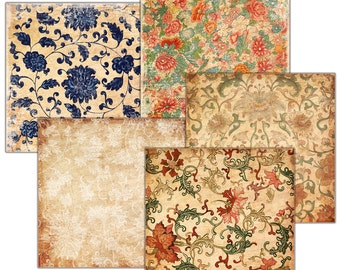 Decoupage,  BACKGROUND Vintage wallpaper oriental   - set of 5 -  scrapbooking ,  Digital Collage Sheets 12x12'' instant Download (6)