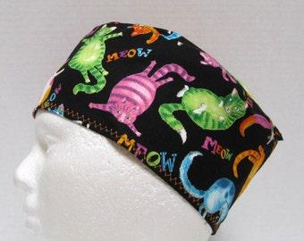 Mens Scrub Hat, Veterinarian Scrub Cap, Surgical Cap, Colorful Cats