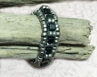 Nickel Black Ring Beadwork Ring Seed Beaded Ring Nickel Beaded Ring Grey Beadwoven Ring Beaded Band Ring Peyote Ring Bead Stitched Ring