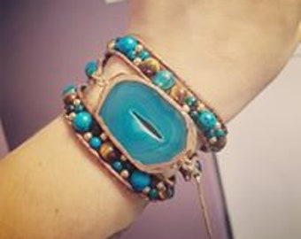Lovely Triple wrap leather and Gemstone bracelet