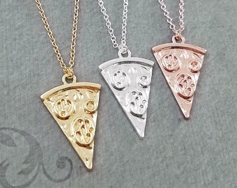 Pizza Necklace SET of 3 Pepperoni Pizza Necklaces Rose Gold Pizza Slice Charm Pendant Necklace Best Friend Necklace Friendship Jewelry Gift