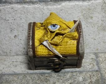 Treasure Chest Desk Organizer Monster Trinket Box Ring Box Small Storage Stash Yellow Leather 287