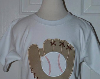Personalized Baseball and Glove Applique Shirt or Onesie Girl or Boy