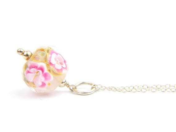 Art Glass Pendant - Medium Brown Flecks and Pink Art Glass Bead Sterling Silver Pendant - Classic Collection