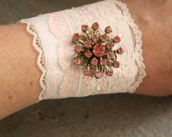 Vintage Lace Cuff 1 Recycled Romantic Boho Gypsy