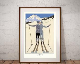 L'hiver par George Barbier, 1925 Ski Vintage Poster - affiche papier, autocollant ou toile d'impression / idée cadeau