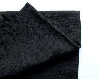 cotton double gauze fabric. soft japanese pure cotton fabric. 102cm (40in) wide. sold by 50cm (19in) long / half yard.  black