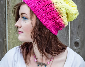 Bananaberry Dip-Dyed Crochet Slouchy Hat