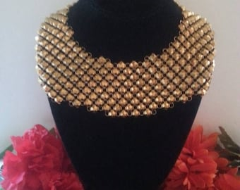 ON SALE Gold Metal Mesh Necklace, Huge Statement Vintage Bib Necklace, Retro Rockabilly 1960's Jewelry, Old Hollywood Glamour