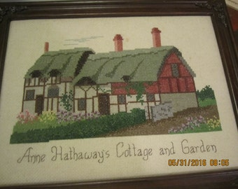 Anne Hathaway's Cottage and Garden Needlepoint Framed