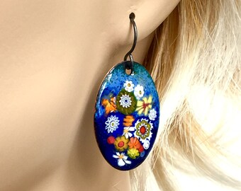 Colorful Enamel Jewelry, Copper Enameled Earrings,Blue Yellow & Orange Floral Design, Artisan Crafted Dangles, Vitreous Enamel, Gift for Her