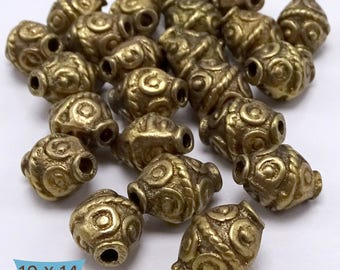 Solid Brass Bicone Rope Coil Pattern Beads—5 Pcs | 20-BR5200-5