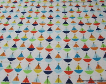 Flannel Fabric - Baby Sailboats - By the Yard - 100% Cotton Flannel