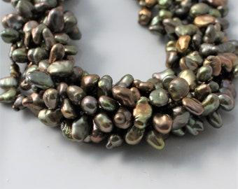 Green Keshi Pearls, Olive Keshi Pearls, Petal Pearls, Top Drilled Keshi, Olive Pearls, Cornflake Pearl Green Pearl 8-11mm Full Strand KP317