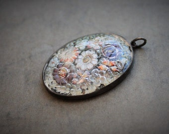 Large Antique Victorian Reverse Carved Pendant / Sterling Essex Crystal Intaglio Pendant / Giardino di Fiori