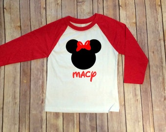 Minnie Inspired Disney 3/4 Sleeve Raglan Shirt for Girls, Disney Family Shirt, Girls Raglan, Minnie Shirt, Disney Monogram, Girls Disney
