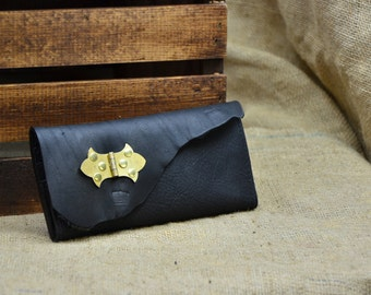 Black Leather Wallet - Leather Checkbook Wallet with Industrial Hinge Steampunk Antique Hardware