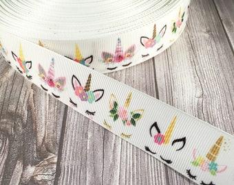 Unicorn ribbon - Unicorn horn - Grosgrain ribbon - Floral unicorn - Gold unicorn - Unicorn crafts - Unicorn love - Magic - Unicorn hair