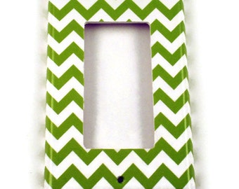 Rocker Light Switch Cover Wall Decor Switchplate Switch Plate in  Green Chevron  (200R)