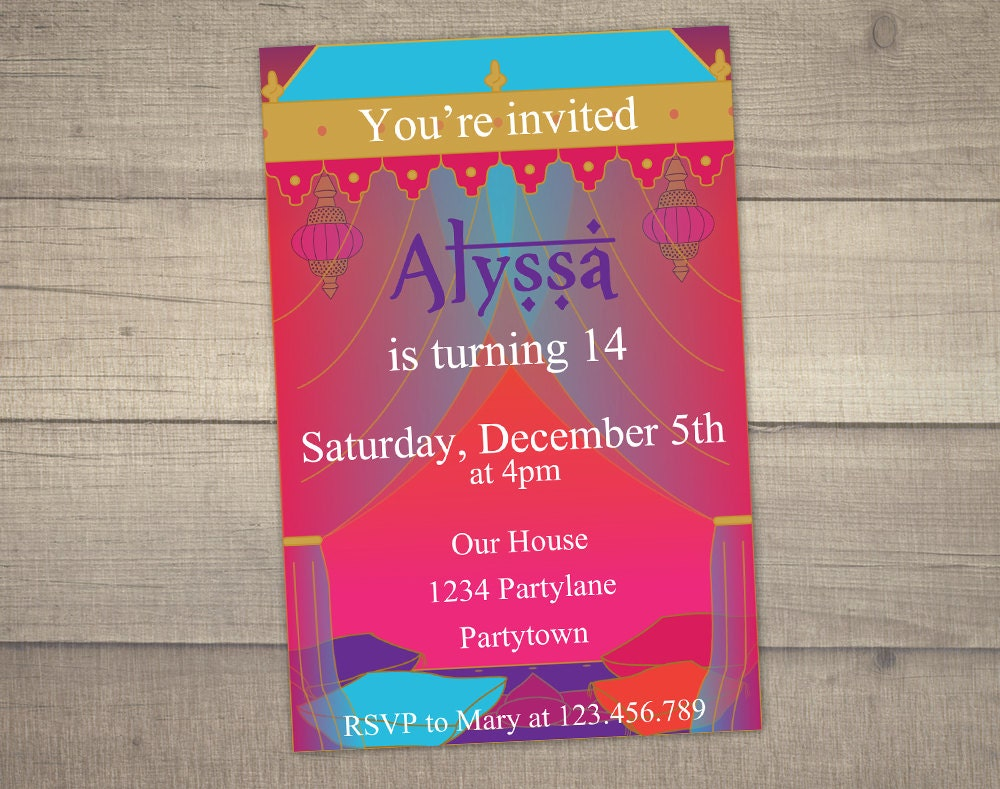 Bollywood Birthday Invitation Arabian Nights Invitation