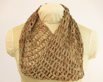 "Eco-Fashion Silk Cowl - Walnut Natural Dye - Crochet Eco Gift - SY8161148 - 8""x32"" (20x81cm)"