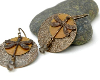 Dragonfly earrings, Smoky Quartz, Embossed metal, Layered, Natural Brass Jewelry, Dragonfly charm, Gift for her, Firefly earrings, jewelry