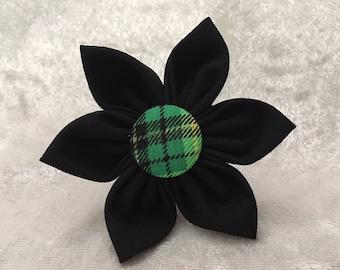 St Patrick's Day Dog Flower Collar Clip, Black and Green Plaid Dog Flower, St. Patrick's Day Pet Accessory, Dog Neckwear