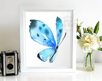 Blue butterfly, print, watercolor butterfly, wall art, printable art, watercolour butterfly, nursery art, butterfly art, instant download