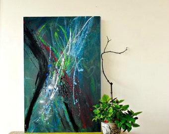 Fine art, Abstract Painting, Large Modern Wall Art, Large painting, Urban Art on Canvas 36x24 by heroux Contemporary Art
