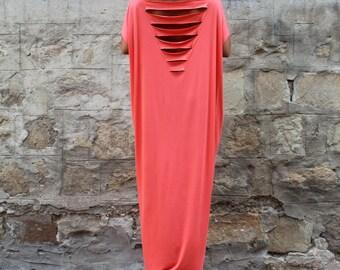 Backless Dress, Robe, Coral Caftan, Maxi dress, Abaya, Plus size dress, Open back dress, Oversized dress, Party dress, Summer dress, 130.140