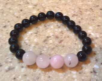 Reiki Style Onyx and Rose Quartz Bracelet