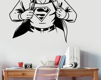 Superman Wall Sticker Vinyl Decal DC Comics Superhero Art Decorations for Home Housewares Teen Kids Boys Room Bedroom Cartoon Decor sup6