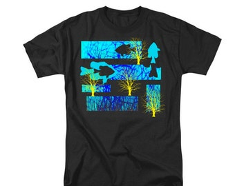 Fish T-shirt, Uni-Sex Wearable Aquatic Art, Gift For Men Women, Turquoise Aqua Blue, Yellow Trees, Digital Design, Ocean Lake River