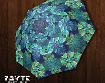 Umbrella, Mandala Umbrella, Festival Umbrella, Visionary Artist, Beach Umbrella, Leaf,Weed, Shade Umbrella, Fractal Mandala Umbrella
