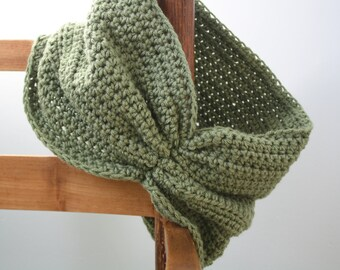 Forest Green Gathered Cowl, Neck wear, Crochet Scarf, Fashion Cowl, Women's Clothing, Winter, Fall, Spring