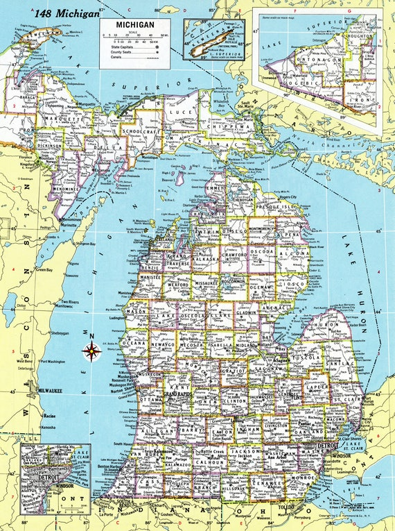 1980 michigan map antique hammond atlas map vintage like this item gumiabroncs Gallery