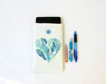CLEARANCE Fabric Kindle case, hand embroidered feather design, nexus 7, kindle touch, paperwhite or fire, gift for her, handmade in the UK
