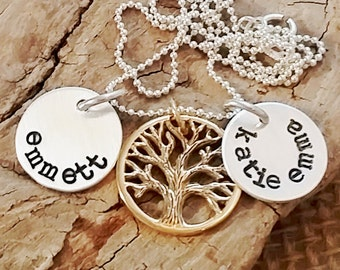 Personalized necklace - Tree of Life Necklace - Mom Jewelry - Custom necklace - Name Necklace - Mommy Tree Necklace