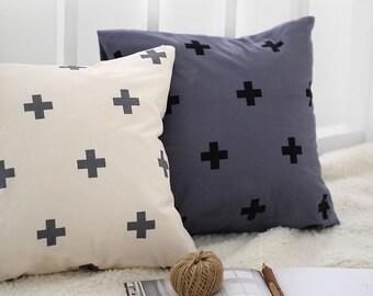 Scandinavian Nordic Style Modern Cross Pattern Cotton Fabric by Yard AW97