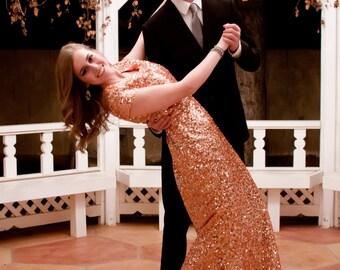 Valerie Sequin Dress - Rose Gold Sequin Dress - Sequin Dress - Metallic Dress - Modest Formal Dress - Modest Prom Dress - Bridesmaid Dresses