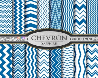 Sapphire Digital Paper Pack - Instant Download - Digital Blue Chevron Scrapbook Paper
