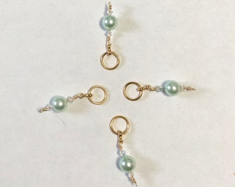 4 Mint Glass, with crystals stitch markers